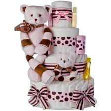 lil baby shower pink striped 4 tier cake
