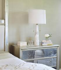 Lamp For Nightstand Silver Leaf Nightstand With Mirrored Drawers And White Alabaster