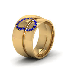 wedding bands sets his and hers wedding band sets his and hers with blue sapphire in 14k yellow