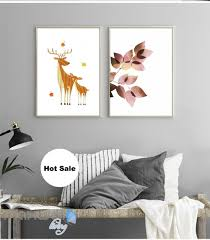 forest deer father son leaves fall canvas prints wall decals decor