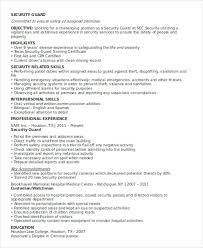 Sample Resume For Security Guard Position by Security Guard Resumes 10 Free Word Pdf Format Download Free