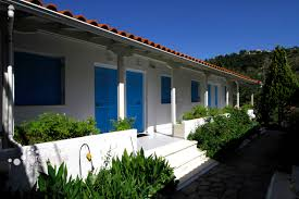 blue white house in lefkada island kalamitsi