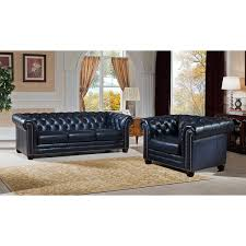 Blue Leather Chesterfield Sofa Nebraska Genuine Rubbed Blue Leather Chesterfield Sofa And
