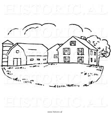 house drawing clipart of a farm house with silo and barn black and white