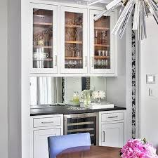 small bar with under cabinet wine glass rack transitional kitchen