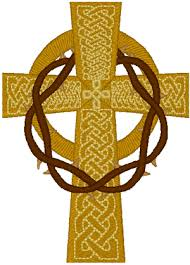cross with draped crown of thorns embroidery design