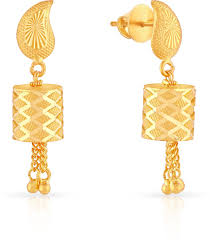malabar earrings malabar gold and diamonds mhaaaaaavcls 22 k gold drop earring in