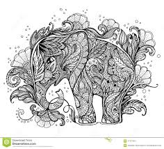beautiful painted elephant with floral ornament stock