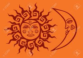 isolated icon of tribal sun and crescent moon royalty free