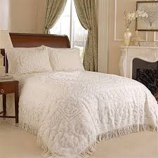 King Size White Coverlet King Size 100 Cotton Chenille Bedspread In Ivory With 2 Standard