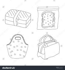 lunch boxes set various lunch bags stock vector 709120324