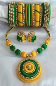 green color necklace set images Yellow green color necklace set manufacturer in andhra pradesh jpeg