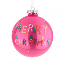 90mm glass christmas baubles pink merry christmas 14x062 k