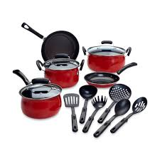 cookware black friday essential home 14 piece red non stick cookware set