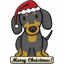 cartoon dachshund christmas ornament black tan photo cut outs