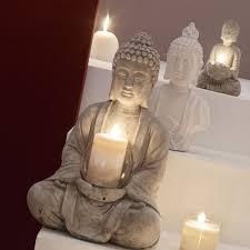 deco chambre zen bouddha photophore bouddha en ciment h 19 cm sérénité maisons du monde