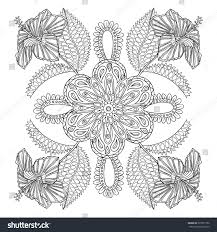 coloring page exotic hibiscus flower bunch stock vector 328791752