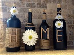 home wine bottle decor home decor wine bottles shabby chic