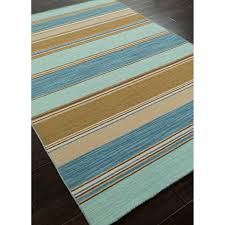 Blue Wool Rug 8x10 Stripes Pattern Blue Taupe Wool Area Rug 8x10