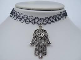 black charm choker necklace images 2018 lucky evil eye hamsa hand charm on a black tattoo choker jpg