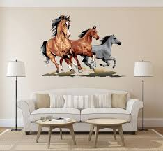 cik167 full color wall decal horse herd of sheep running an animal
