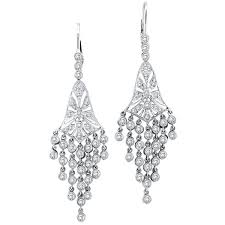 diamond chandelier earrings 14k white gold 2 27ct diamond chandelier earrings