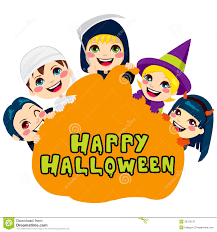 cartoon kids with halloween costume and pumpkin wizard stock