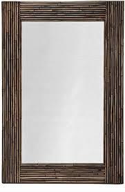 rectangular rattan wall mirror black stain tropical wall