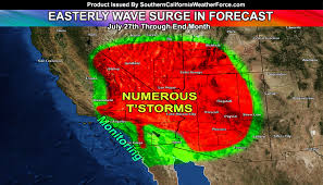 California Weather Map Easterly Wave Monsoonal Flow Event Targets Southern California By