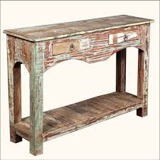 furniture distressed narrow wood entryway table with storage idea