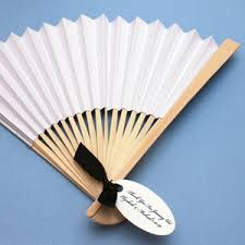 wedding fan favors white paper fans set of 10 palm and bamboo fans