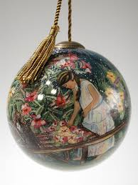 susan winget painted blown 4 glass ornament