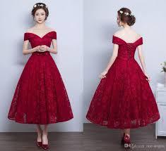 2017 tea length rose red full lace prom dresses off shoulder v