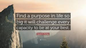 Challenge Purpose David O Mckay Quote Find A Purpose In So Big It Will