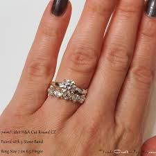 solitaire stone rings images 7mm 1 28ct hearts arrows round brilliant cut cz solitaire paired jpg