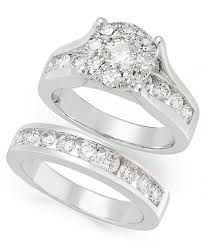 wedding set diamond engagement ring and wedding band bridal set in 14k white