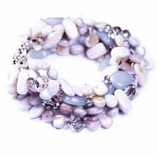 bracelet stone beads images Swarovski crystal 6 stranded light grey shell crystals and stone jpg