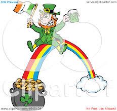 royalty free rf clip art illustration of a leprechaun holding