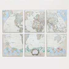 Canvas Map Of The World by Six Piece World Map Set Set Of 6 Room Living Rooms And Bedrooms