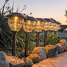 solar copper metal path lights set of 6 warm white