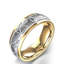 gold male rings images Scroll and leaf design carved men 39 s wedding ring in 14k two tone jpg