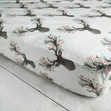 Deer Crib Sheets Stag With Flowers Fitted Crib Sheet Woodland Deer Crib Sheet