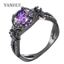 Purple Wedding Rings by Online Get Cheap Purple And Black Engagement Rings Aliexpress Com