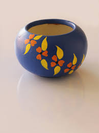 hand painted small pot as home decor in royal blue color