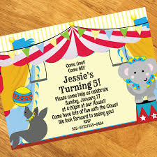 circus personalized invitations