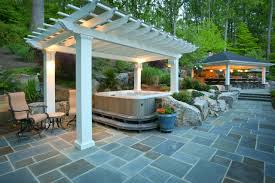 outdoor accent lighting exterior design fabulous stone patio and backyard tub ideas