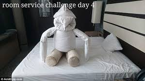 The Duvet And Pillow Company Hotel Guest Creates Hilarious Objects For Cleaner Daily Mail Online