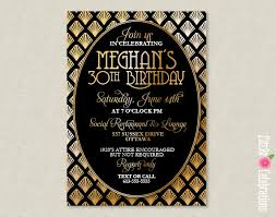 customized invitations printable roaring 20 s deco black and gold party invitation