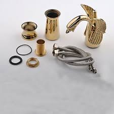 Swan Faucet Gold Single Handle Centerset Rose Gold Finish Swan Style Bathroom Sink