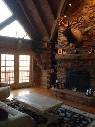 cabin living room ideas rustic living room hunting trophies elk mount log cabin living